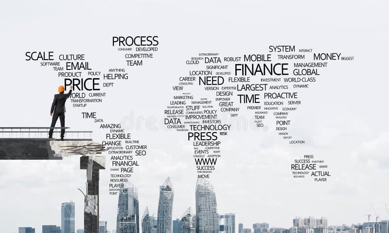 Palabras conceptuales del negocio de la escritura del hombre de negocios imagen de archivo