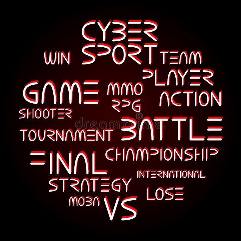 Palabras conectadas con tema cibernético del deporte stock de ilustración