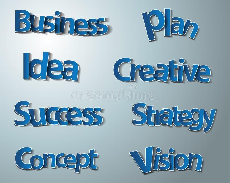 Palabras creativas del negocio fijadas stock de ilustración