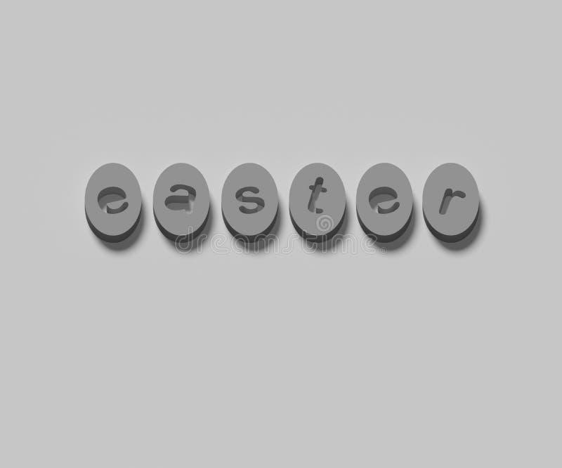 PALABRAS 3D del ` de PASCUA del ` EN FONDO LLANO stock de ilustración