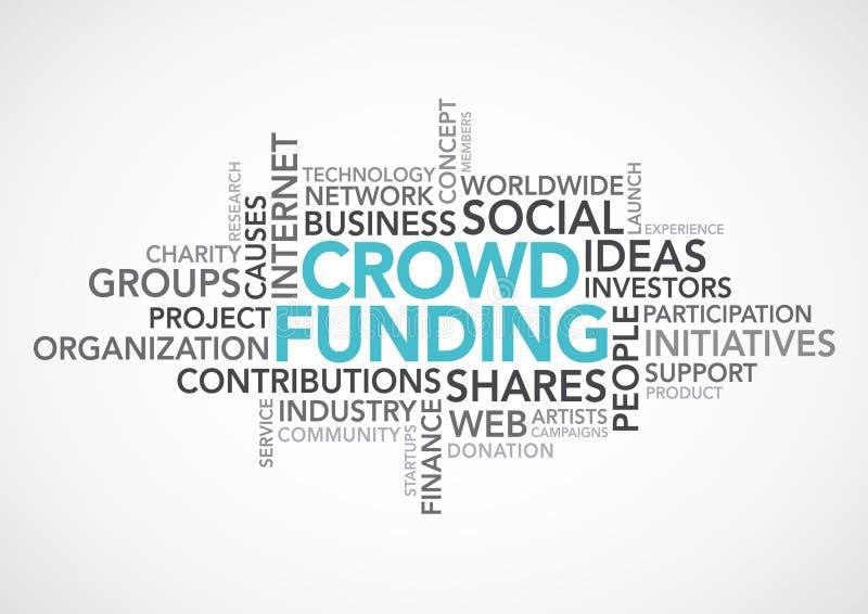 Palabras de Crowdfunding stock de ilustración