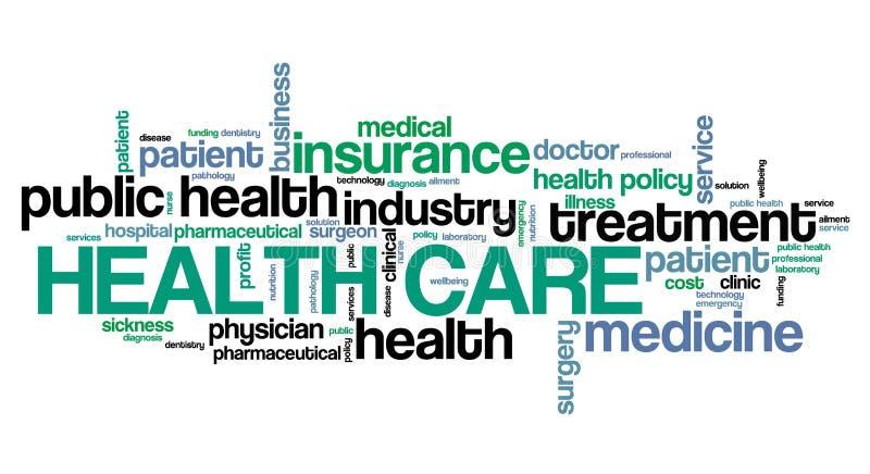 Palabras de la atención sanitaria stock de ilustración