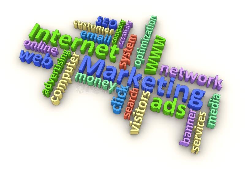 Palabras de la comercialización del Internet (color) libre illustration