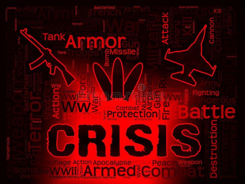 Palabras de la crisis que muestran dificultades y calamidad stock de ilustración