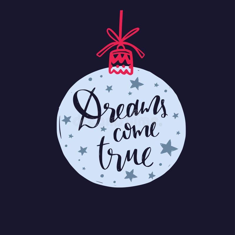 Palabras de la Feliz Navidad y del Año Nuevo en la decoración 13 del árbol de navidad stock de ilustración