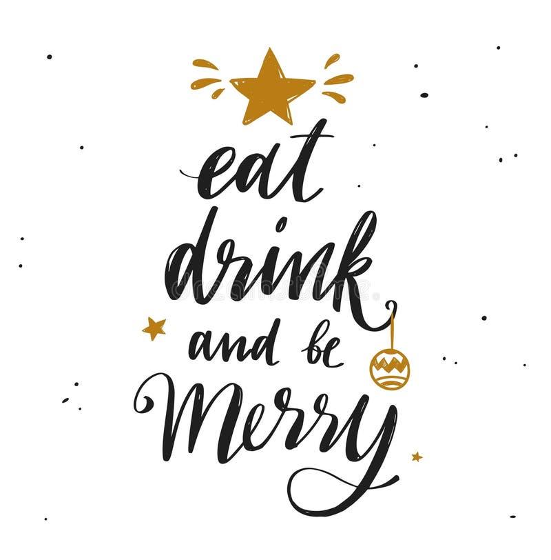 Palabras de la Feliz Navidad y del Año Nuevo en la decoración 9 del árbol de navidad stock de ilustración