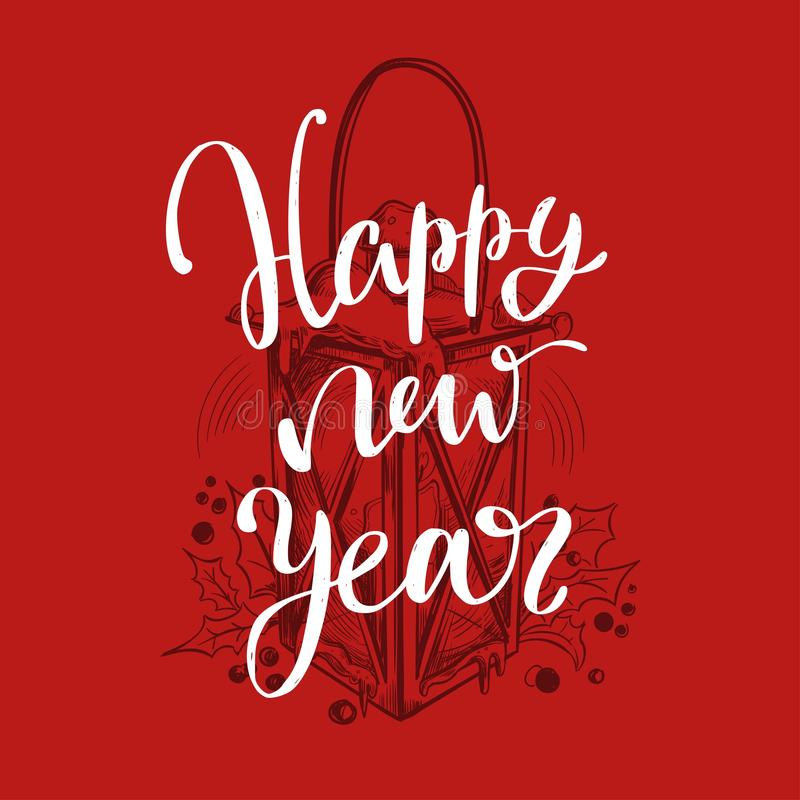 Palabras de la Feliz Navidad y del Año Nuevo en la decoración del árbol de navidad Mano del vector dibujada ilustración del vector