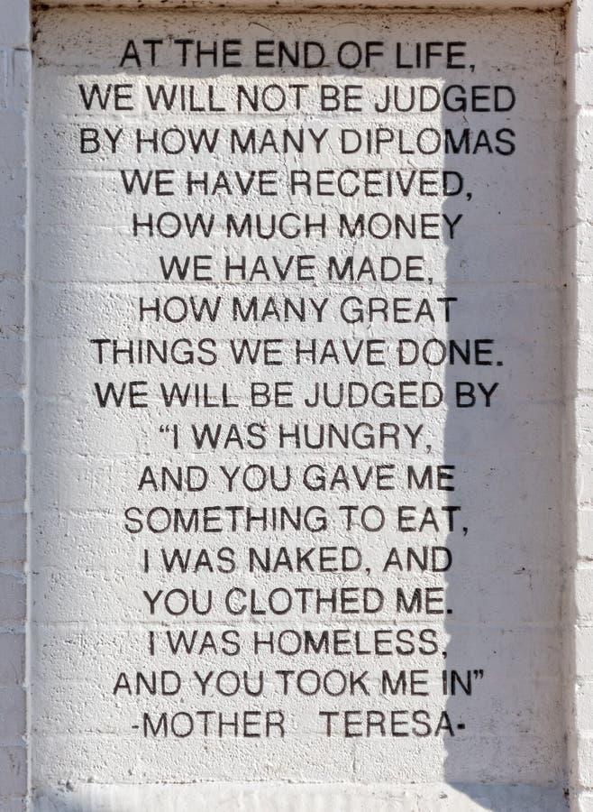 Palabras de la Madre Teresa fotografía de archivo libre de regalías