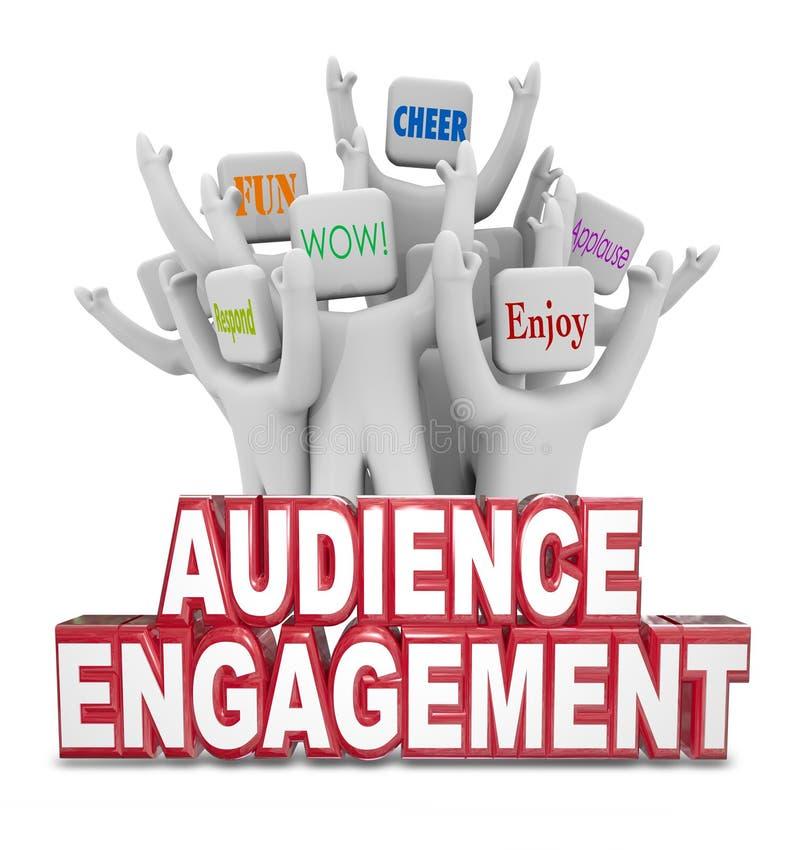 Palabras de los clientes de la gente del compromiso de la audiencia que animan ilustración del vector