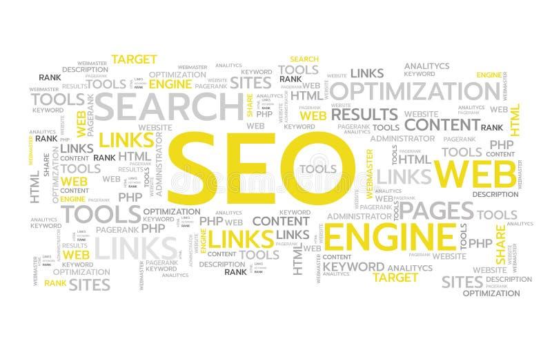 Palabras de SEO Vector Ilustración Bandera del Web stock de ilustración
