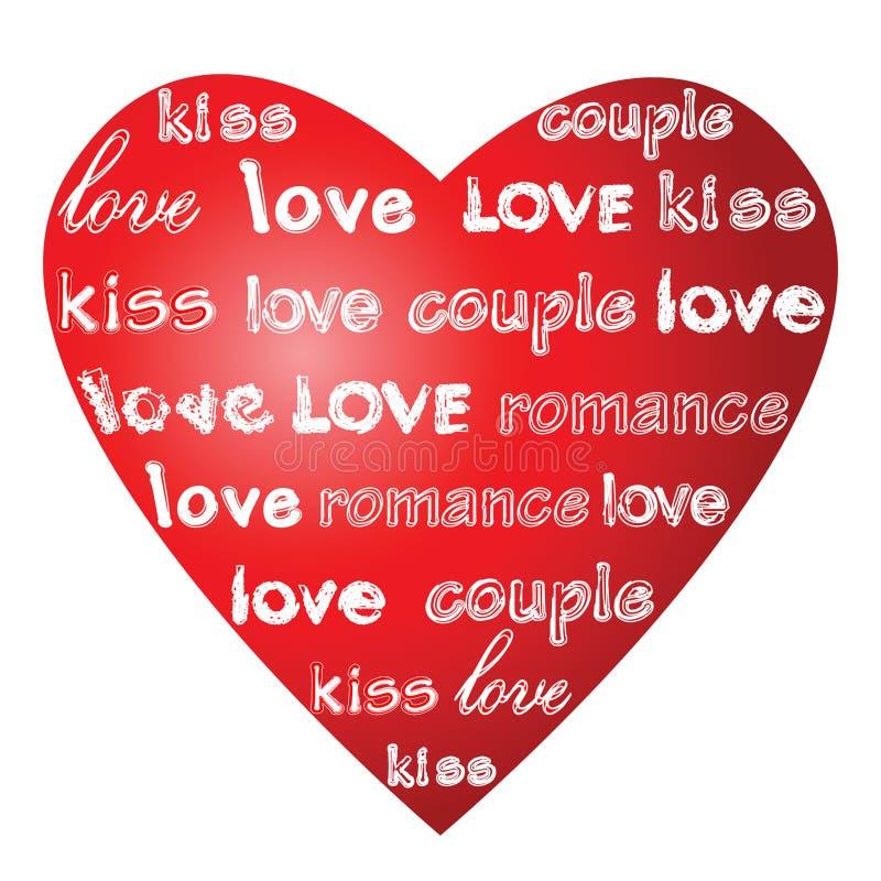 Palabras del amor en un corazón. ilustración del vector