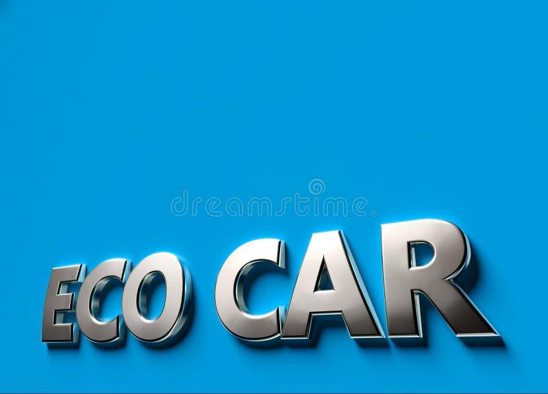 Palabras del coche de Eco como concepto de la muestra 3D o del logotipo puesto en superficie azul con el espacio de la copia sobr libre illustration