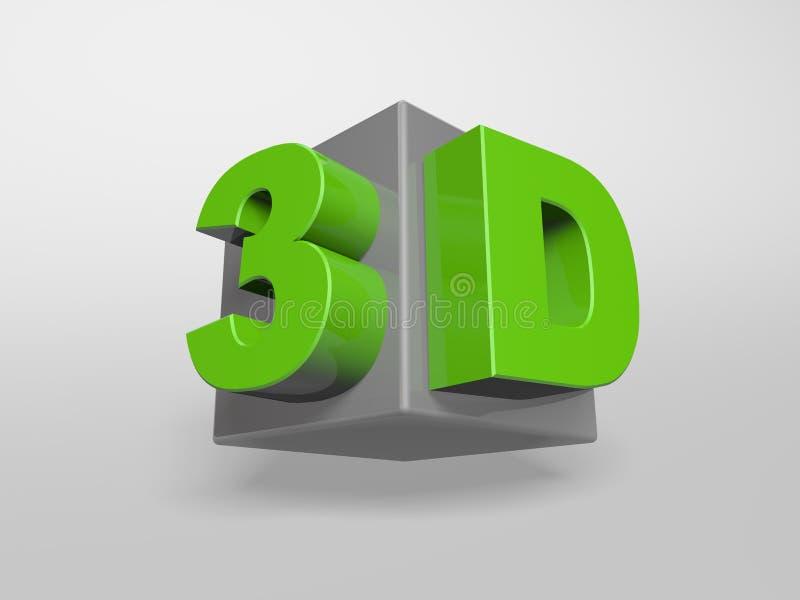 palabras del concepto 3d en el cubo imagenes de archivo