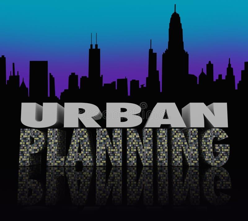 Palabras del horizonte de Scape de la ciudad de la noche del planeamiento urbano ilustración del vector