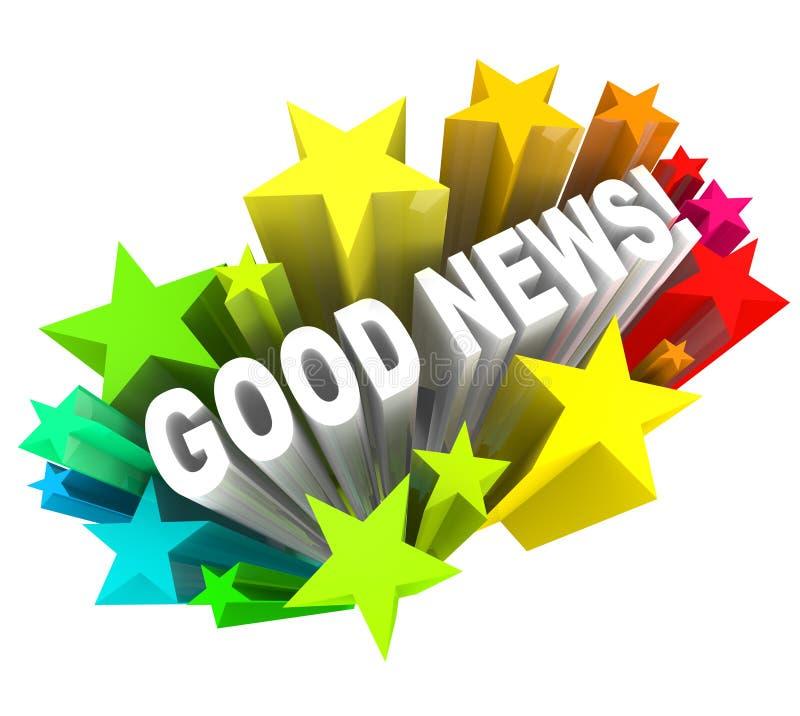 Palabras del mensaje del aviso de buenas noticias en estrellas stock de ilustración