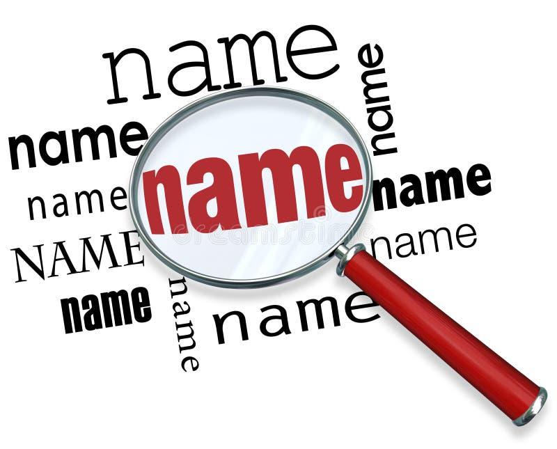 Palabras del nombre debajo de la lupa que busca a gente del hallazgo ilustración del vector