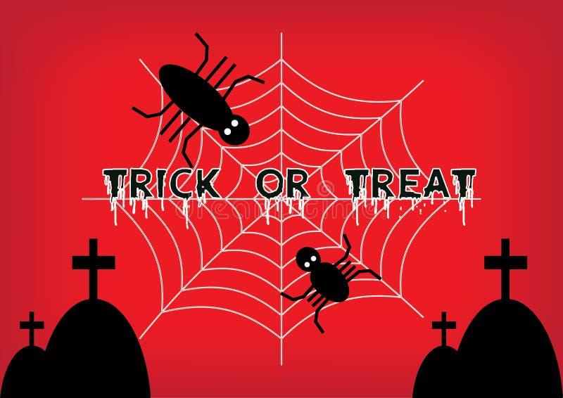 Palabras del truco o de la invitación con la araña que sube en el spiderweb foto de archivo