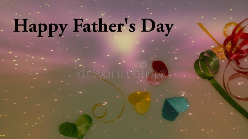 Palabras felices del día de padre con las pequeñas cajas en forma de corazón y de regalo coloridas como fondo fotos de archivo