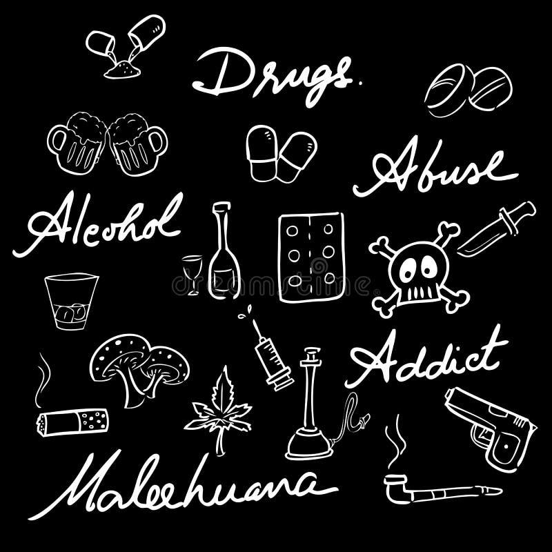 Palabras fijadas iconos del adicto a la tenencia ilícita de drogas ilustración del vector