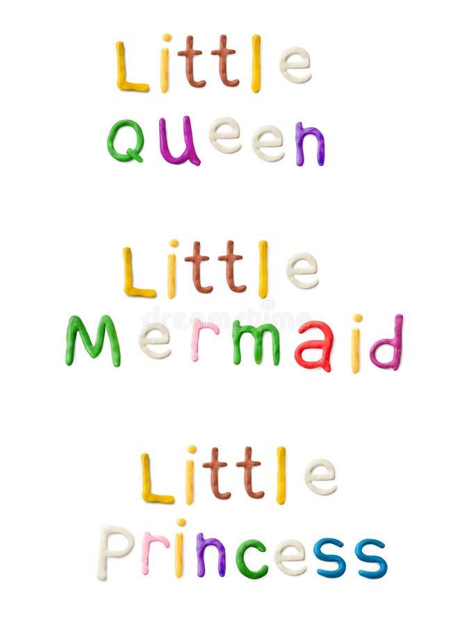Palabras hechas a mano de la arcilla de modelado Pequeña reina, sirena, princesa stock de ilustración