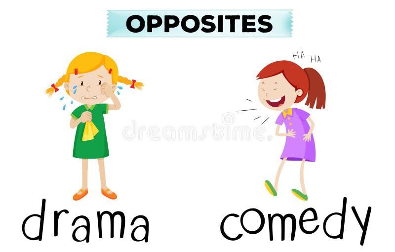 Palabras opuestas con drama y comedia stock de ilustración