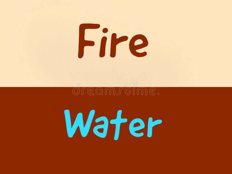 Palabras opuestas del fuego y del agua dos en el fondo ilustración del vector