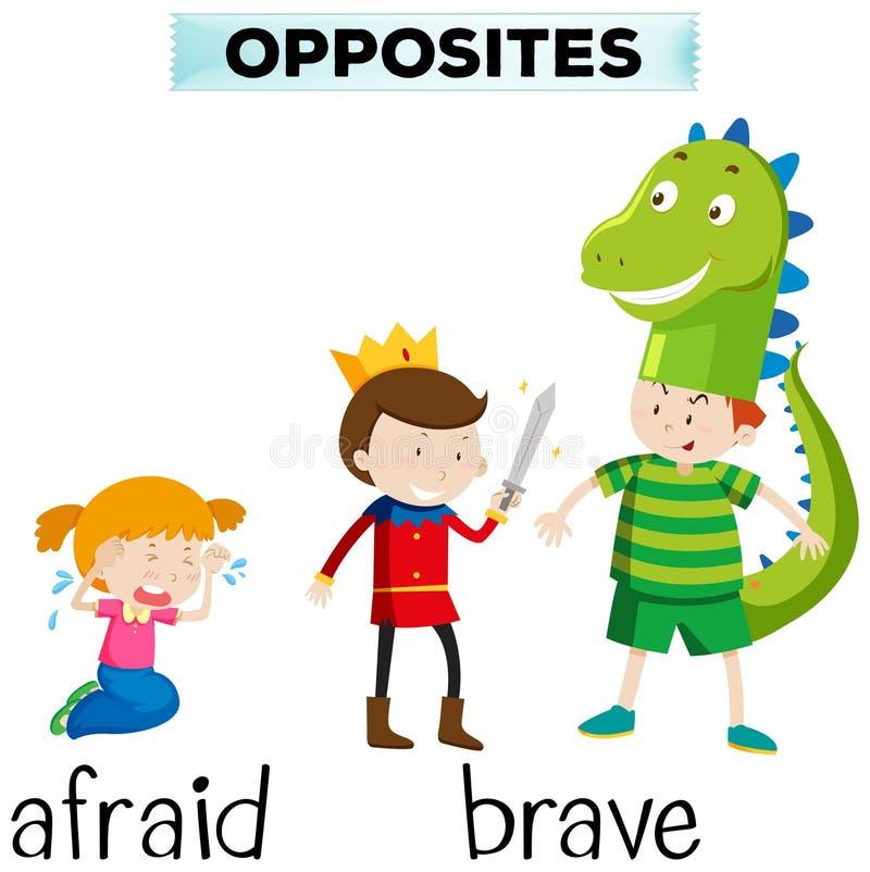 Palabras opuestas para asustado y valiente stock de ilustración