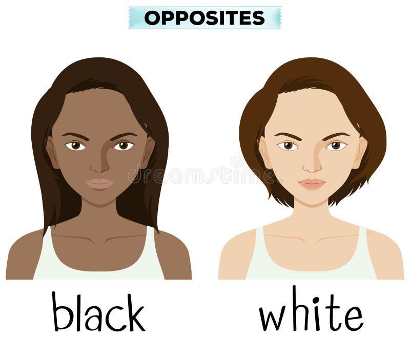 Palabras opuestas para blanco y negro libre illustration