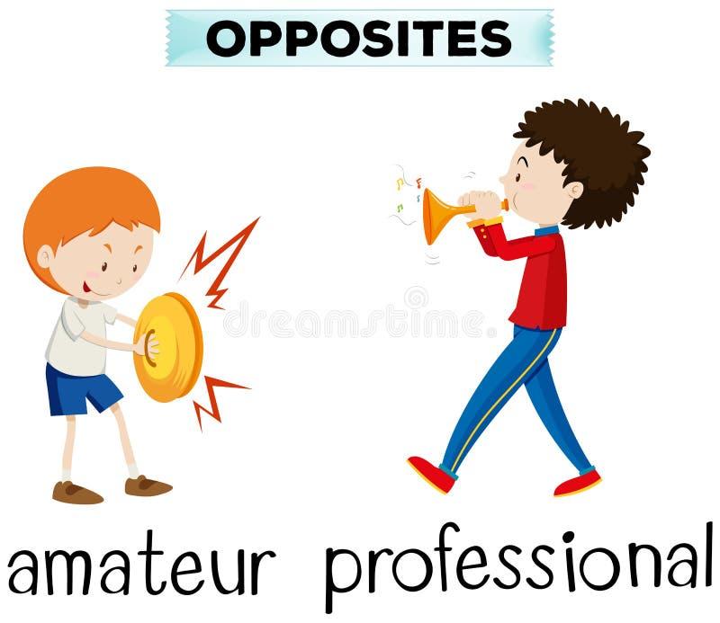 Palabras opuestas para el aficionado y el profesional ilustración del vector