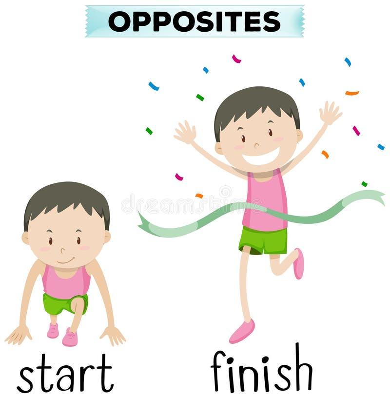 Palabras opuestas para el comienzo y el final ilustración del vector