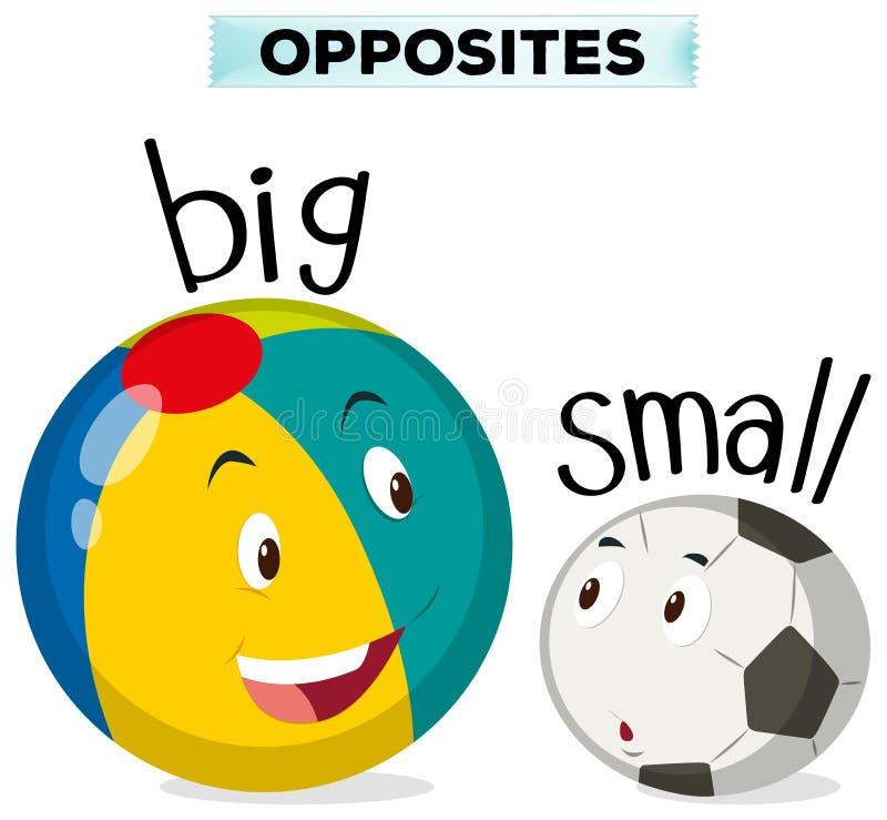 Palabras opuestas para grande y pequeño ilustración del vector