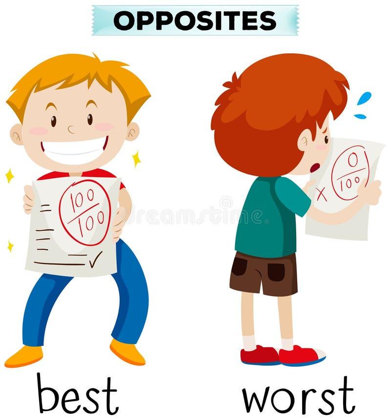 Palabras opuestas para la mejor y la peor stock de ilustración