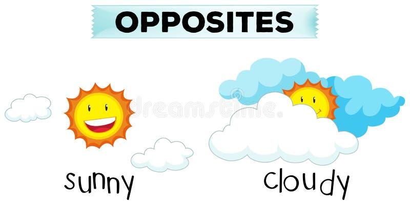 Palabras opuestas para soleado y nublado stock de ilustración