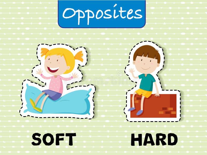 Palabras opuestas para suave y difícilmente stock de ilustración