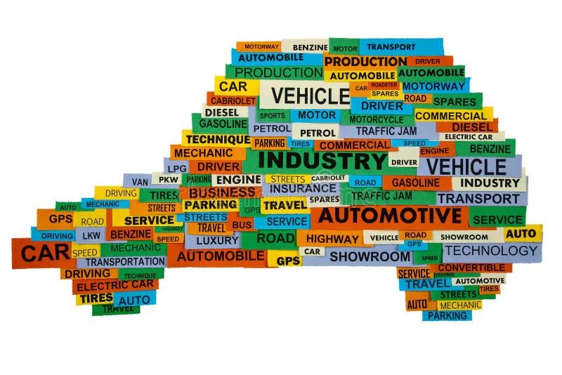 Palabras que describen la industria del automóvil fotografía de archivo libre de regalías