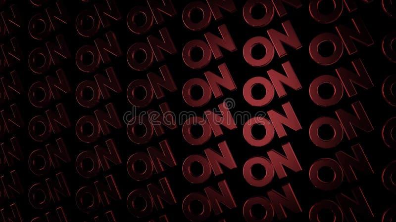 Palabras rojas abstractas en fluir en filas diagonalmente en fondo negro animaci?n Mayúsculas que brillan intensamente con la luz ilustración del vector