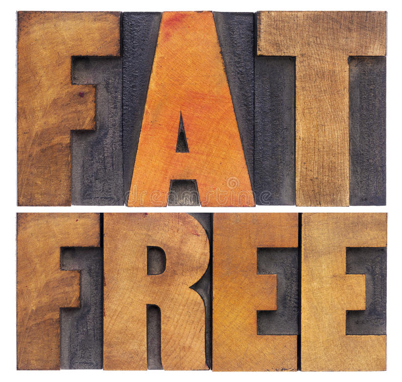 Palabras sin grasa en el tipo de madera foto de archivo libre de regalías
