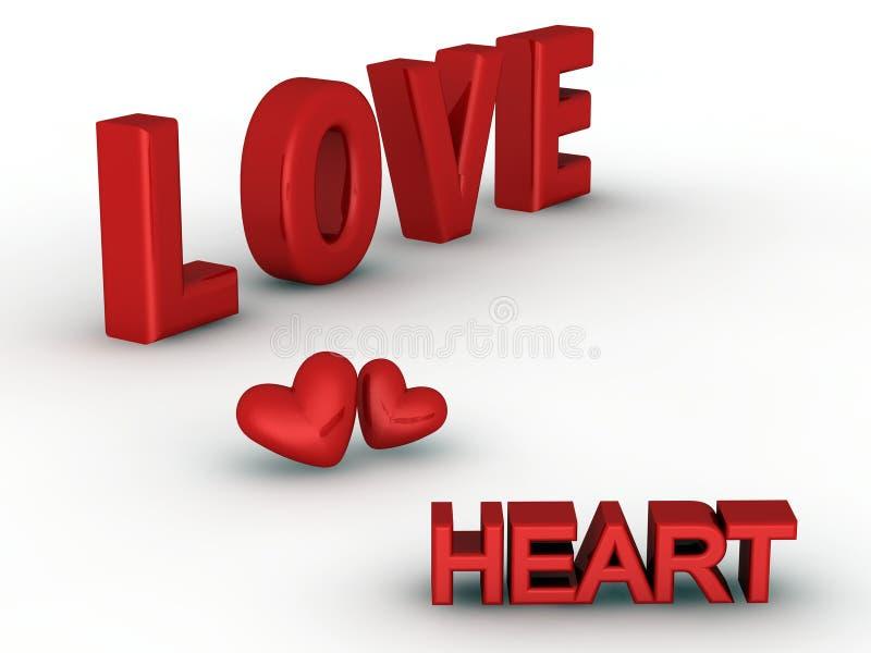palabras tridimensionales del amor y del corazón   stock de ilustración