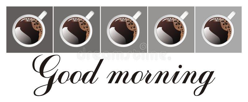 Palabras y tazas de café stock de ilustración
