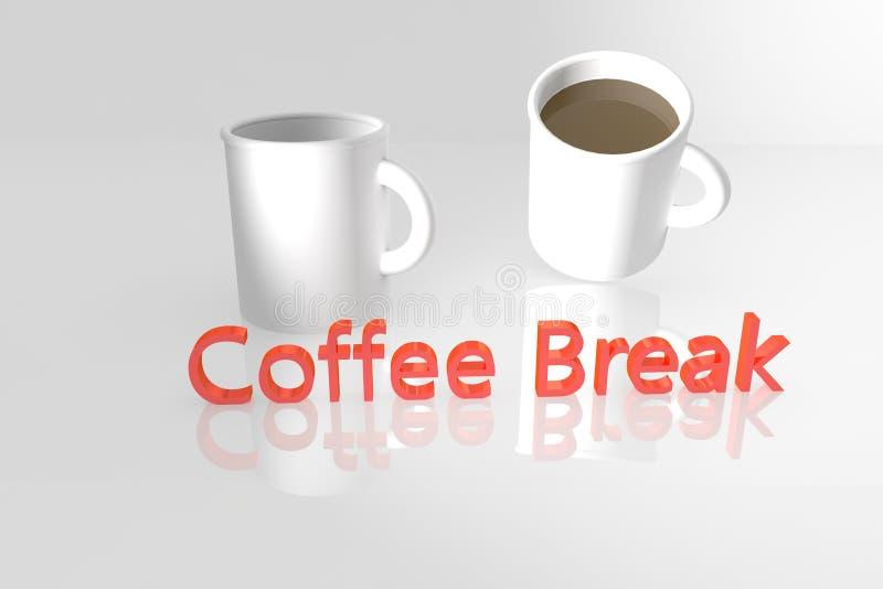 Palabras y tazas del descanso para tomar café en 3D stock de ilustración