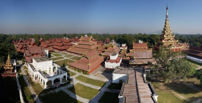 Palace在曼德勒全景,缅甸(缅甸)国王 免版税库存图片