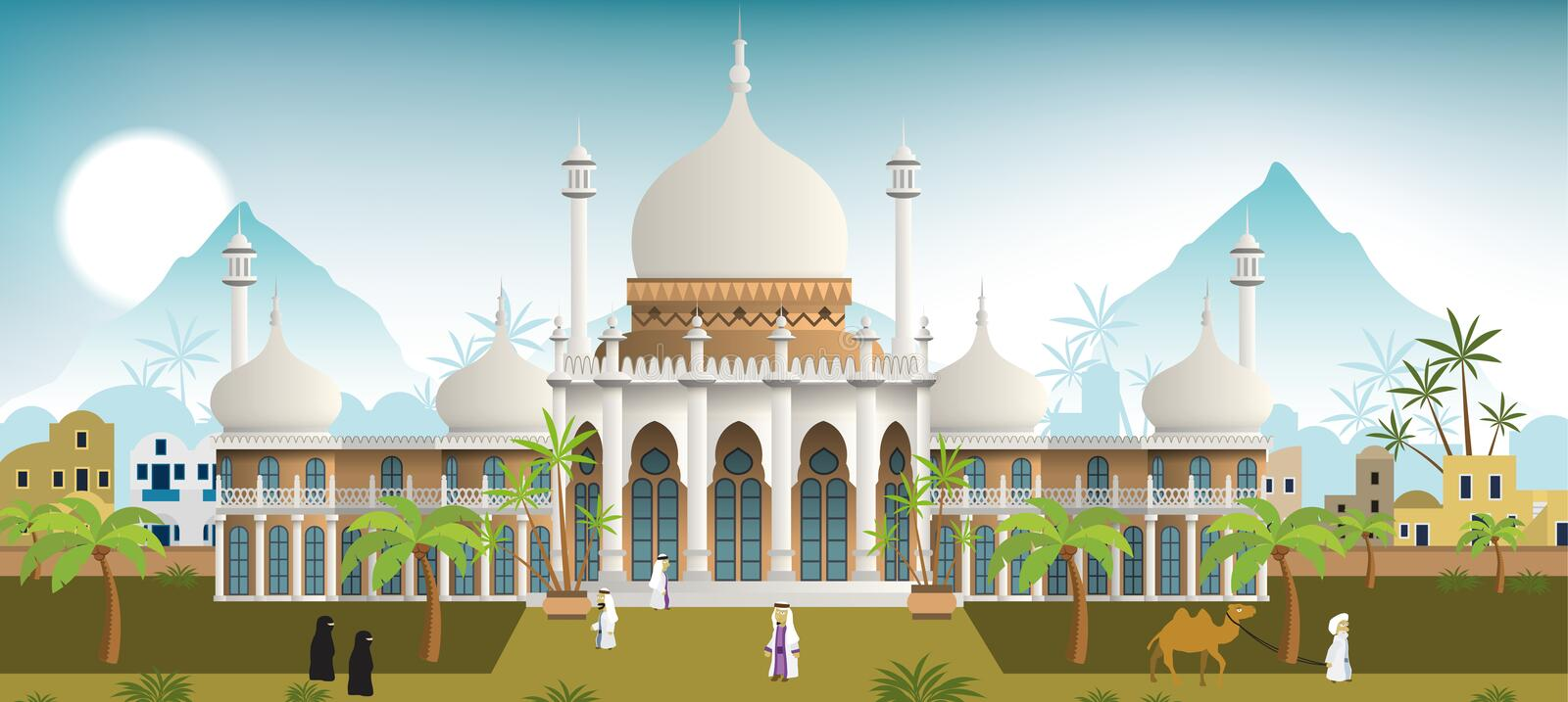 Palace in the arabian city. Vector illustration of the palace in the arabian city stock illustration