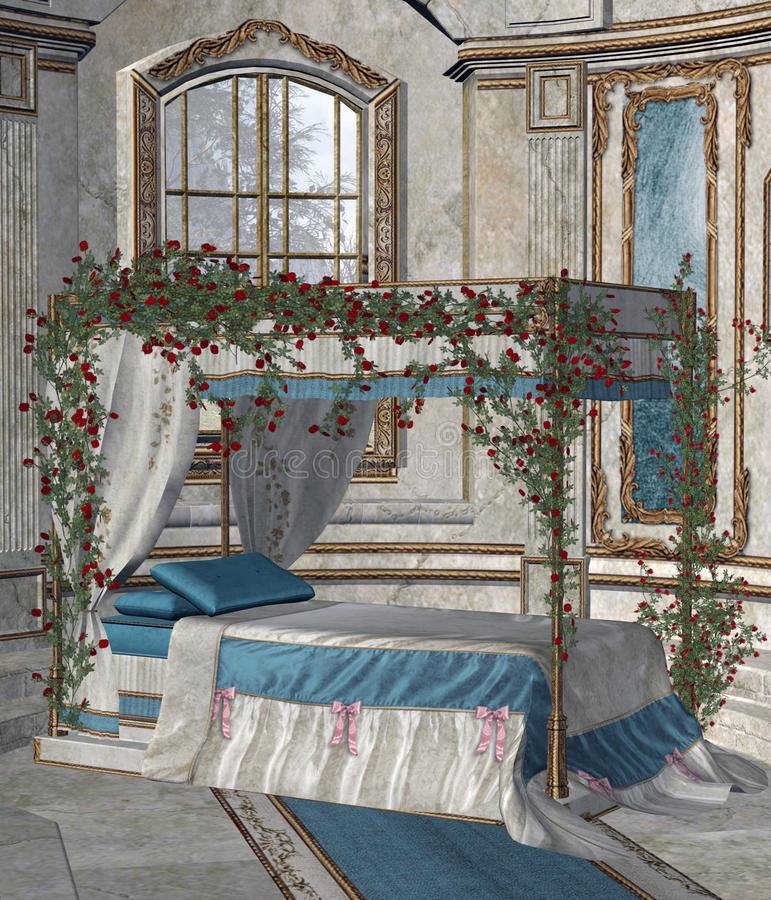 Palace bedroom 2. A fairytale palace bedroom with rose vines royalty free illustration