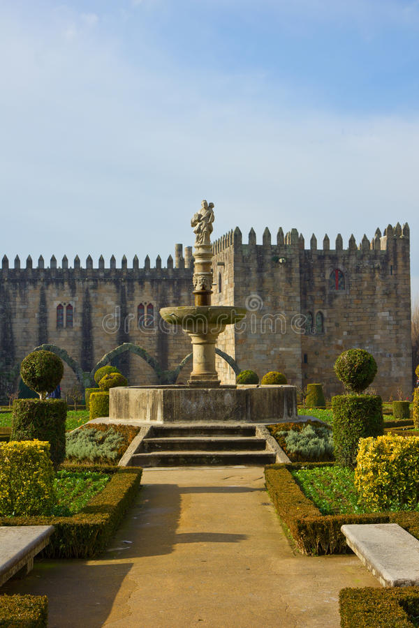 Palace of bishop, Braga, Portugal. Garden of St.Barbara's at the walls of the former Archbishop's Palace, Braga, Portugal stock images