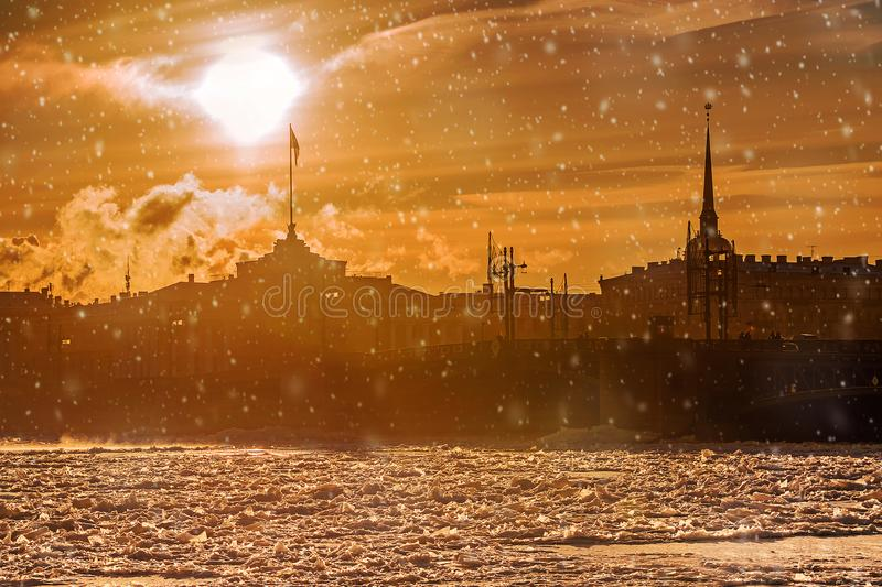 Palace Bridge in St. Petersburg, Russia.  royalty free stock photo