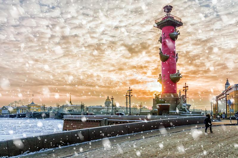Palace Bridge at sunset in winter in St. Petersburg, Russia royalty free stock photography