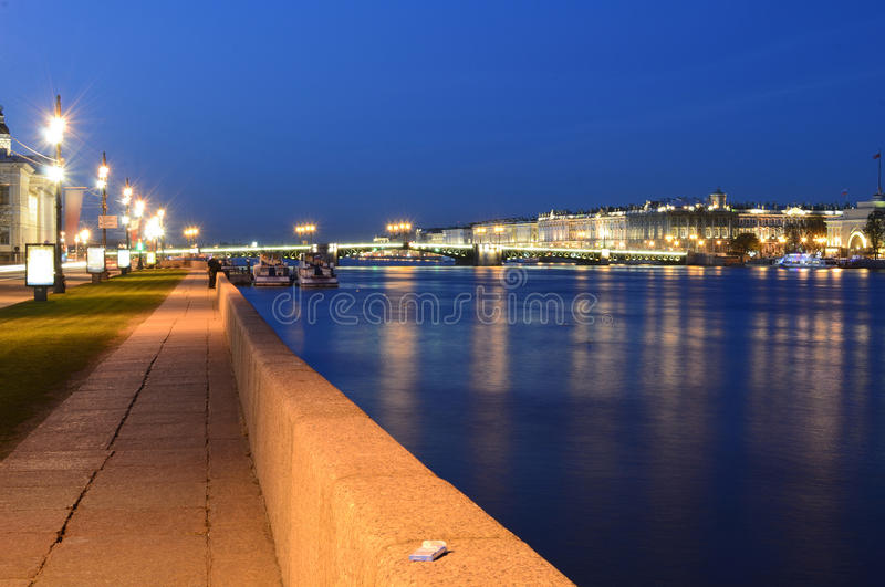 The Palace bridge at white nights. In the city of St.-Petersburg stock photo