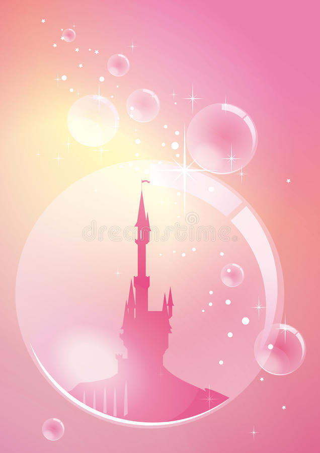 Palace in bubble. Fantasy palace floating in pink bubble stock illustration