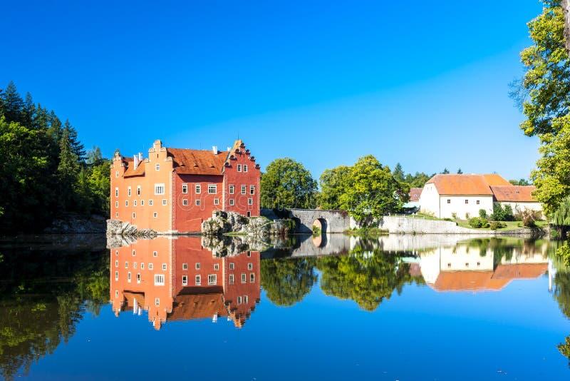 Palace Cervena Lhota, Czech Republic. Outdoors, outside, exteriors, europe, central, eastern, czechoslovakia, bohemia, architecture, building, castle, bridge stock photos