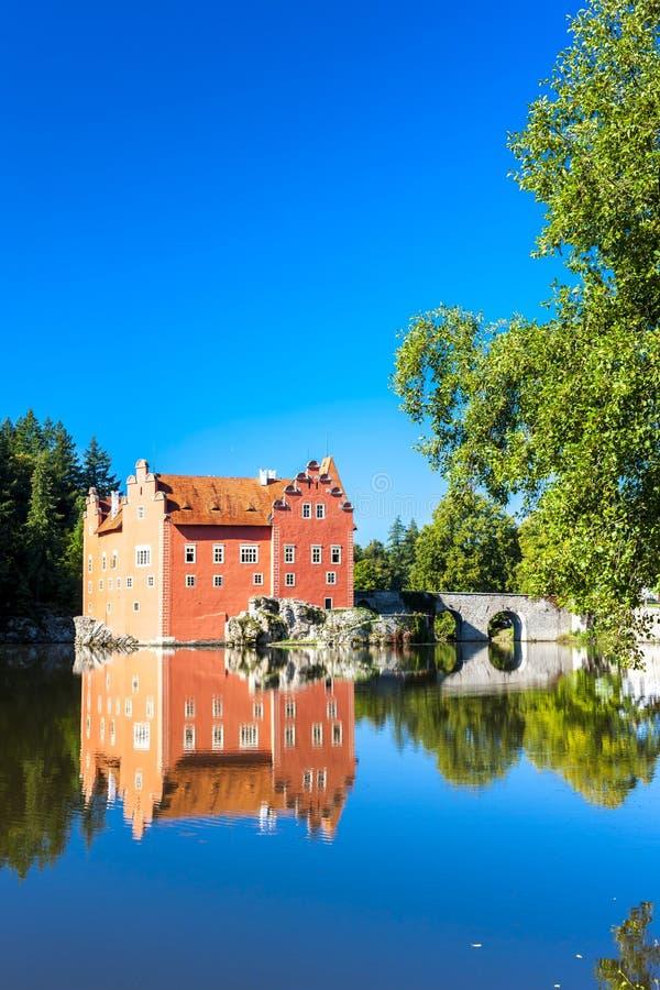 Palace Cervena Lhota, Czech Republic. Outdoors, outside, exteriors, europe, central, eastern, czechoslovakia, bohemia, architecture, building, castle, bridge stock images